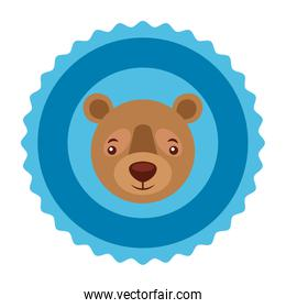 grizzly bear head decoration label