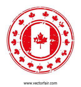 grunge style label with canadian flag