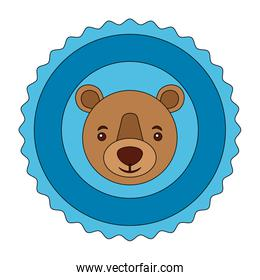 lace bear grizzly isolated icon