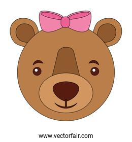 head female bear grizzly isolated icon