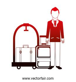 man traveler suitcases and hotel luggage trolley