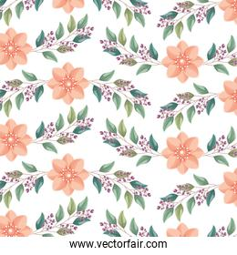 floral background flowers leaves berry decoration