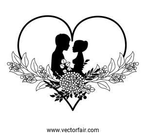 couple in love heart flowers decoration