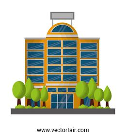 hotel building facade with trees