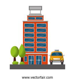 hotel building facade and taxi with trees