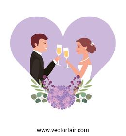 married couple with floral decoration in heart and cups