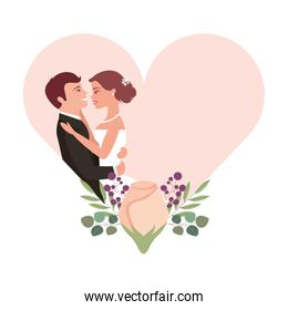 married couple with rose flower decoration in heart
