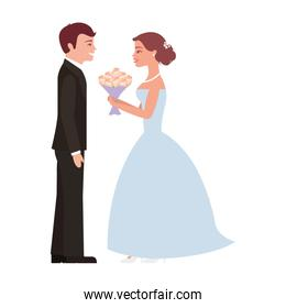 married couple with bouquet of flowers avatar character