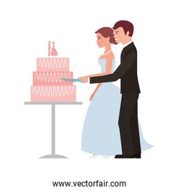 married couple with wedding cake isolated icon