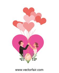 married couple with rose flower in heart and balloons helium