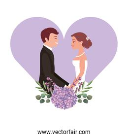 married couple with floral decoration in heart