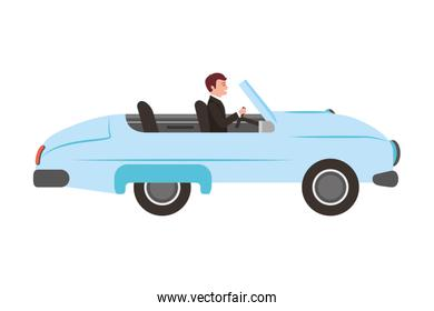 classic wedding car with housband marriage isolated icon