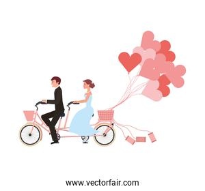just married couple in bicycle and balloons helium with shape heart