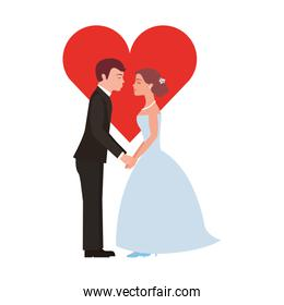 married couple with heart avatar character
