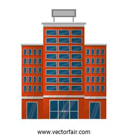 hotel building with placard on roof