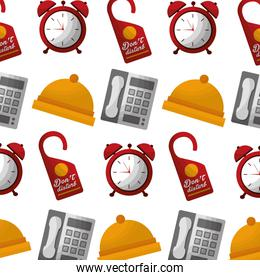 hotel bell clock alarm telephone and do not disturb tag background