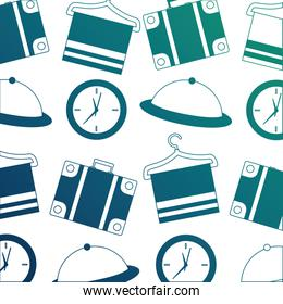 hotel suitcase clock tray and towel hook background