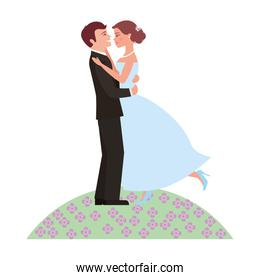 married couple in garden dancing isolated icon