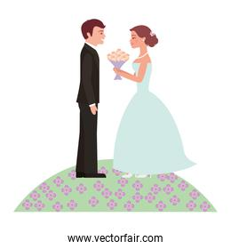 married couple with bouquet of flowers in garden