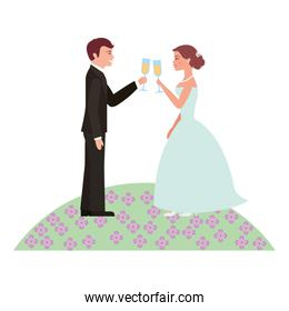 married couple in garden with cups celebrating icon