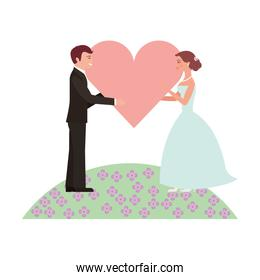 married couple in garden with heart isolated icon
