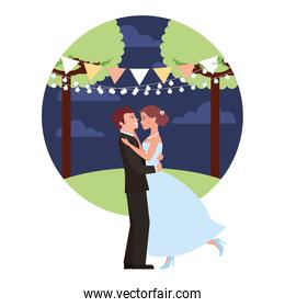 married couple dancing in night landscape isolated icon