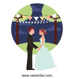 married couple in night landscape avatar character