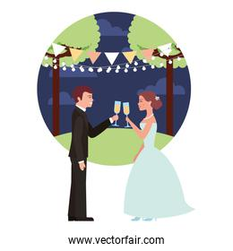 married couple in night landscape with cups celebrating