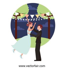 married couple in night landscape celebrating avatar character