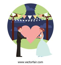 married couple in night landscape with heart isolated icon