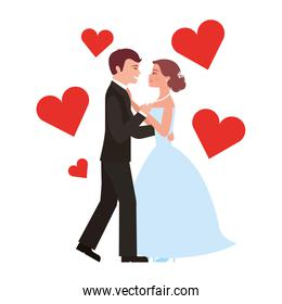 married couple dancing with hearts isolated icon