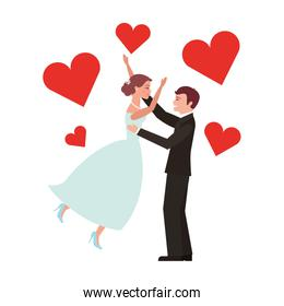 married couple celebrating with hearts isolated icon