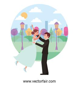 married couple celebrating in landscape avatar character
