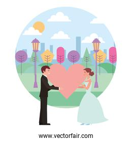 married couple in landscape with heart avatar character