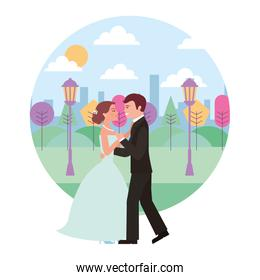 married couple dancing in landscape avatar character