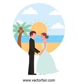 married couple in beach isolated icon