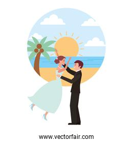 married couple celebrating in beach avatar character