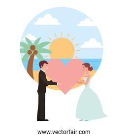 married couple in beach with heart avatar character