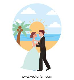 married couple dancing in beach isolated icon