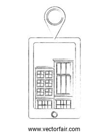 tablet device with buildings structures and pin location