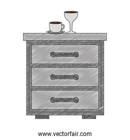 wooden drawer with cup of coffee and cup wine icon