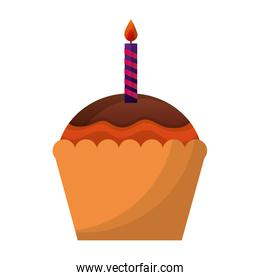 sweet cupcake with candle isolated icon
