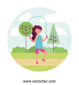 woman athlete jumping rope with landscape