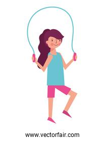 woman athlete jumping rope
