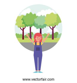young woman with hands up in landscape isolated icon