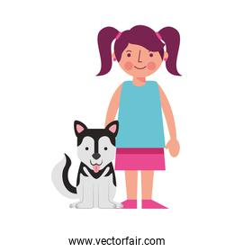little girl with dog mascot avatar character