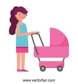 young woman with baby cart icon