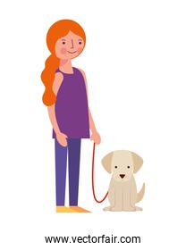 young woman with dog mascot avatar character