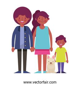 happy family black with dog mascot icon