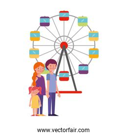 happy family in the panoramic wheel